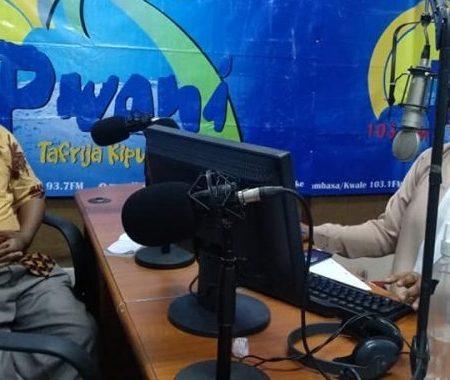 Pwani FM studio with sister Dalila discussion on capacity development